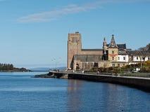 OBAN,SCOTLAND,MAY-8, 2015, Oban bay, St Columba cathedral and Al Stock Photography
