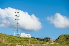 Oban , Scotland - May 16 2017 : The united kingdom still uses flat parabola antennas in rural areas. Scotland Stock Images