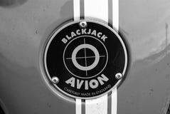 Oban, United Kingdom - February 20, 2010: blackjack avion car badge. Red badge on blue metal background. Car name and. Emblem. Automotive logo. Transport and royalty free stock photos