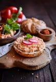 Obatzda - propagação tradicional do Bavarian feita do queijo, da manteiga, da cebola, do pó da paprika e da cerveja imagens de stock royalty free