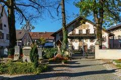 Obberamergau,德国- 2017年10月15日:传统家与 库存照片