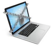 Obbligazione di calcolatore computer portatile bloccato con le catene e Fotografia Stock