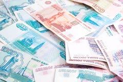 Obbligazioni della rublo dei soldi nel disordine Immagine Stock