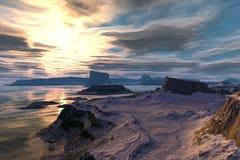 Obca planeta Góra i woda świadczenia 3 d Fotografia Stock