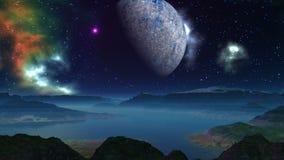 Obca planeta, księżyc i mgławica, ilustracji