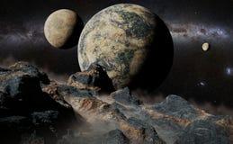 Obcego krajobraz z planetą, księżyc i Milky sposobu galaxy, royalty ilustracja