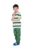 Obcojęzyczna chłopiec pokazuje jego palec naprzód Zdjęcia Stock