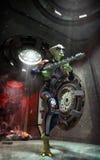 Obcy żołnierza i statku kosmicznego korytarz ilustracja wektor
