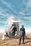 Obcy Explorores z statkiem kosmicznym royalty ilustracja
