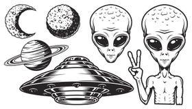 Obcy i ufo set ilustracja wektor