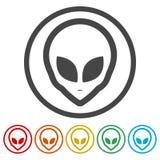 Obcy kierownicza ikona, Extraterrestrial obca twarz, 6 kolorów Zawierać ilustracja wektor