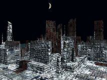 Obcy miasto - fantazj struktur 3d miastowy rendering royalty ilustracja