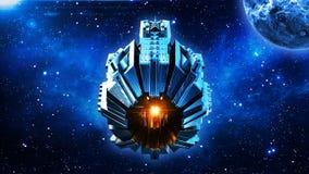 Obcy mothership, statek kosmiczny w lataniu w wszechświacie z planetą i gwiazdach głębokiej przestrzeni, UFO statku kosmicznego,  royalty ilustracja