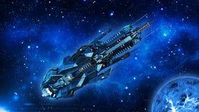 Obcy mothership, statek kosmiczny w lataniu w wszechświacie z planetą i gwiazdach głębokiej przestrzeni, UFO statku kosmicznego,  ilustracja wektor