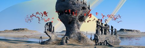 Obcy planeta krajobraz, latające czerwone istoty mrowi się wokoło tajemniczego rockowych formacj 3d ilustraci sztandaru ilustracji