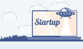 Obcy statek i laptop Metafora dla początku nowego projekta niebieski obraz nieba tęczową chmura wektora ilustracja wektor