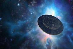 Obcy statek kosmiczny w kosmosie ilustracji