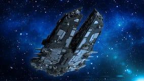 Obcy statek kosmiczny w wszechświacie, statku kosmicznego latanie w głębokiej przestrzeni z gwiazdami w tle, UFO dolny widok, 3D  royalty ilustracja