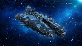 Obcy statek kosmiczny w wszechświacie, statku kosmicznego latanie w głębokiej przestrzeni z gwiazdami w tle, UFO frontowy widok,  ilustracja wektor