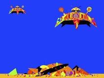 Obcy statki kosmiczni iść lądować Obrazy Stock