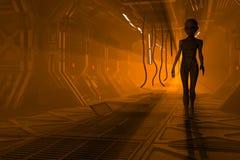 Obcy w fantastyka naukowa korytarzu ilustracja wektor