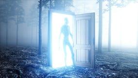 Obcy w mgły nocy lasu światła portalu drzwi UFO pojęcie świadczenia 3 d ilustracja wektor