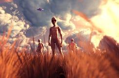 Obcy w trawy polu ilustracja wektor