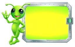 Obcy z znakiem lub ekranem ilustracji