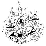 Obcych statki kosmiczni grają główna rolę planeta kosmosu przestrzeni kreskówkę royalty ilustracja