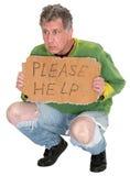 Obdachlose Mann Bedarfs-Hilfe lokalisiert auf Weiß Stockfotos