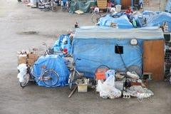Obdachlose Zelte Stockfoto