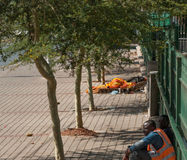 Obdachloser auf Straße Lizenzfreies Stockbild