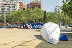 Obdachloser in Barcelona Stockfotografie