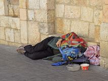 Obdachloser ist das Schlafen im Freien in Jerusalem, Israel Stockfoto