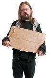 Obdachloser Mann, der Pappzeichen hält Lizenzfreies Stockbild