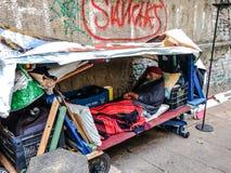 Obdachloser Platz Stockfotografie