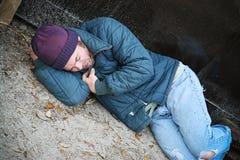 Obdachloses kaltes und allein Stockfotografie