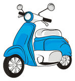 Obe blue moped. Blue moped on a white background Royalty Free Stock Photography