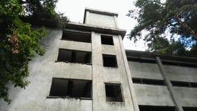 Obebodd byggnad i skog Arkivfoton