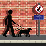 Obedience class. Man walking his dog to obedience class Royalty Free Illustration