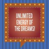 Obegränsad energi för ordhandstiltext av drömmarna Affärsidéen för optimistiskt är hoppfull att förfölja dina mål kvadrerar anför royaltyfri fotografi