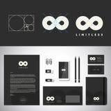 Obegränsade abstrakta Logo Template och identitet royaltyfri illustrationer