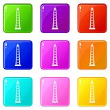 Obelisco of Buenos Aires icons 9 set Royalty Free Stock Photos