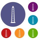 Obelisco of Buenos Aires icons set Royalty Free Stock Photo