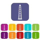 Obelisco of Buenos Aires icons set flat Royalty Free Stock Images