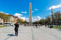 Obelisco de Theodosius Egyptian Obelisk cerca de la mezquita azul Imágenes de archivo libres de regalías