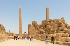 Obelisco de Thutmose primeiro e obelisco da rainha Hatshepsut no templo de Amun, Karnak, Luxor imagens de stock royalty free