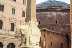 Obelisco della Minerva in Rome. Obelisk with an elephant on the back of Pantheon in Rome, Italy stock photos