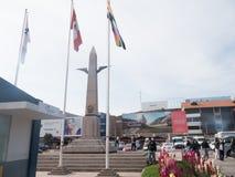 Obelisco en el aeropuerto internacional Alejandro Velasco Astete en Cusco, Perú Fotos de archivo