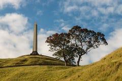 Obelisco en un monumento de la colina del árbol en Auckland fotos de archivo
